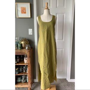 Vintage 90s Y2K linen overall sheath dress 3089
